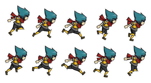 A character sprite sheet for a 2D game