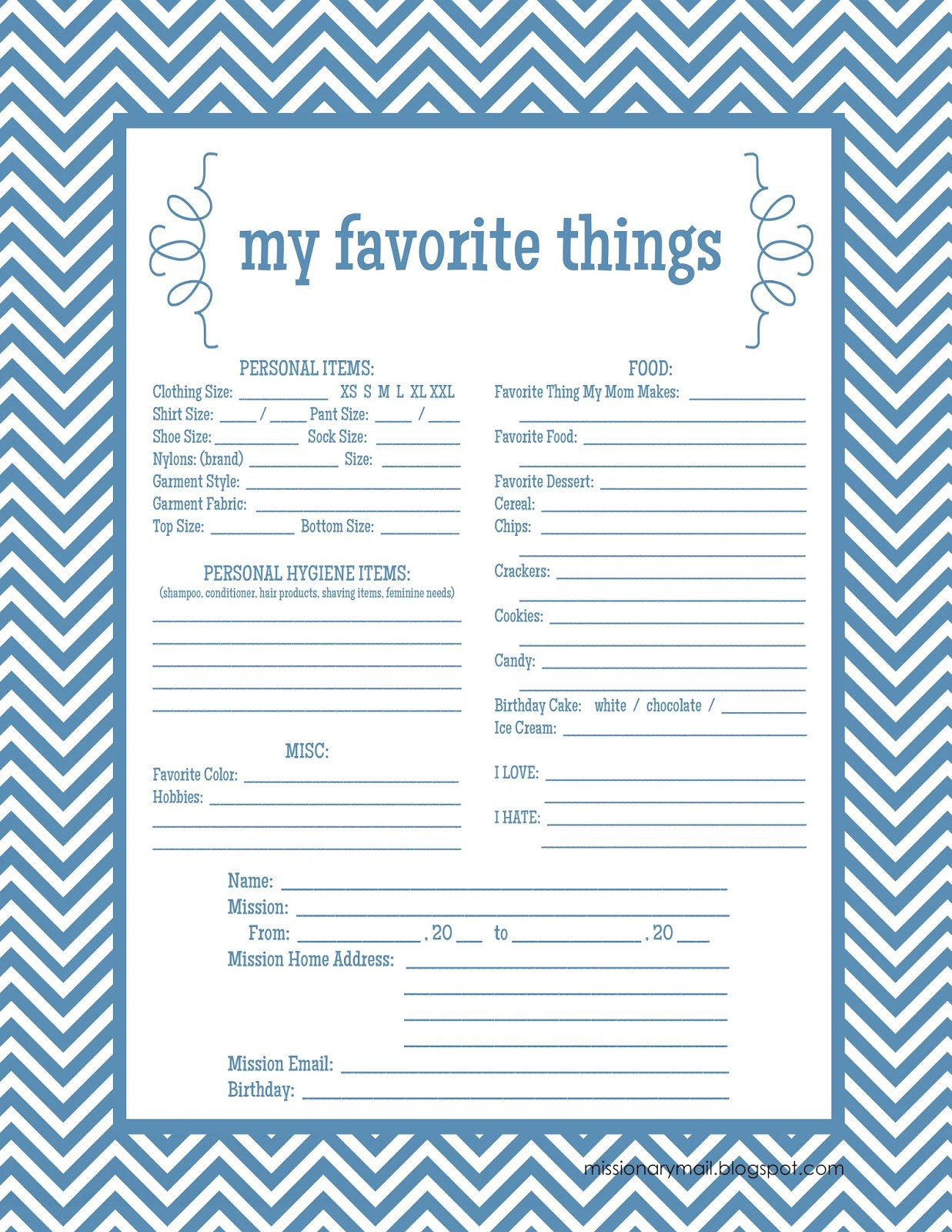 Missionary Mail My Favorite Things Printable