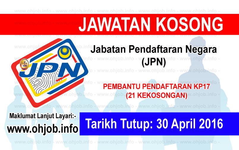 Jawatan Kerja Kosong Jabatan Pendaftaran Negara (JPN) logo www.ohjob.info april 2016