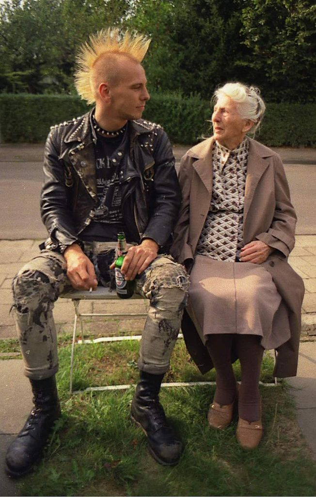 A senior women shares a seat with a punk mohawk young man. Speak Your Mind and other stories of Grandmas and reason. marchmatron.com