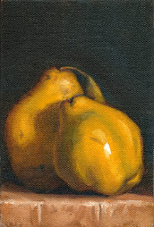 Oil painting of two quinces.