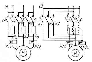 Схемы пуска асинхронных короткозамкнутых электродвигателей с пониженным напряжением