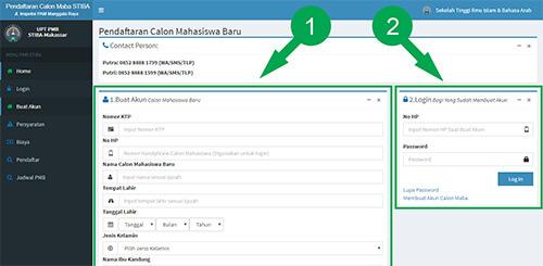 Panel halaman web STIBA Makassar