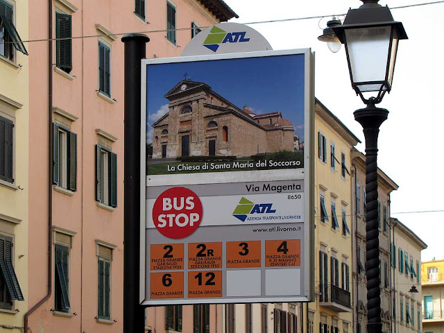 Bus stop signs with pictures of local landmarks, Livorno