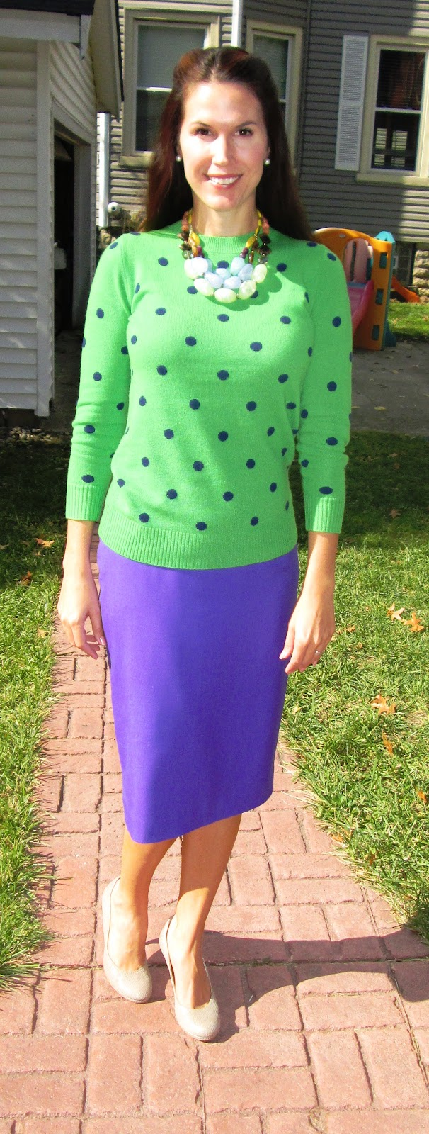 7426fd2050 Collection cashmere polka dot sweater in green/navy: J.Crew, other colors  here. Telegraph pencil skirt in super 120s wool in majestic purple: J.Crew,  ...