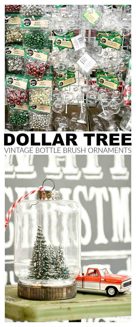 Easy DIY Dollar Tree bottle brush ornaments