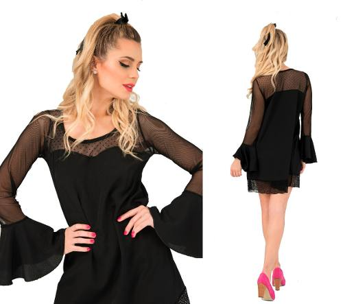 Vestido Corto Fiestanoche Mangas Campana Transparencia Tul