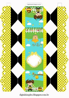 Cajas de Nena Disfrazada de Abejita para imprimir gratis