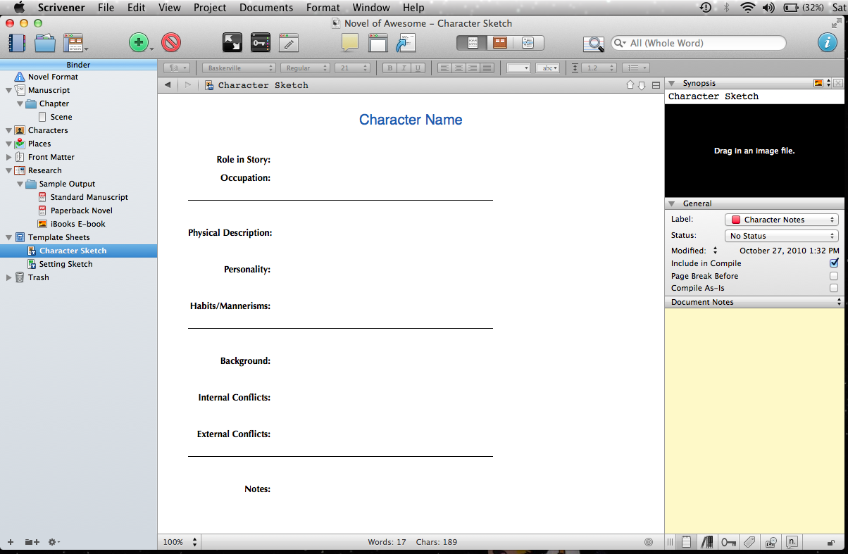 Thinking to Inking: Writer's Resource: Character Templates