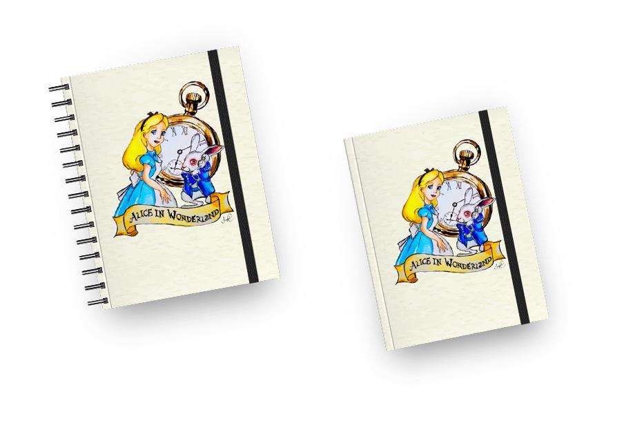 Caderno e Sketchbook Alice no pais das maravilhas