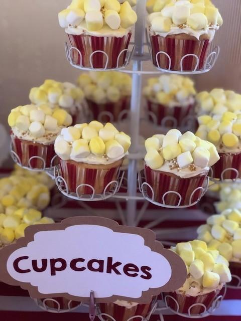 popcorn cupcakes, custom cupcakes, carnival cupcakes