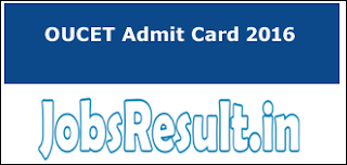 OUCET Admit Card 2016