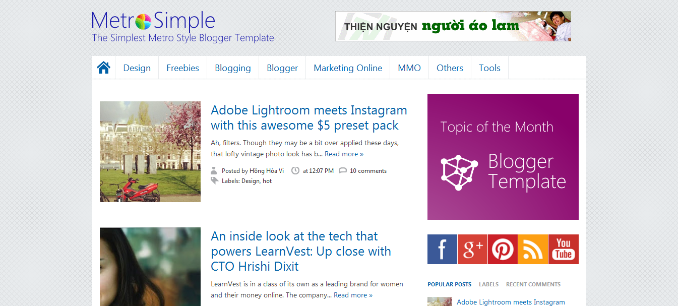 Download Free Metro Simple Blogger Template Bloggersstand