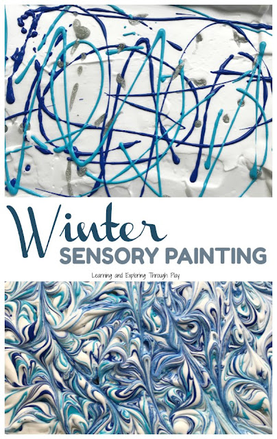 Winter Shaving Cream Marbling Sensory Painting