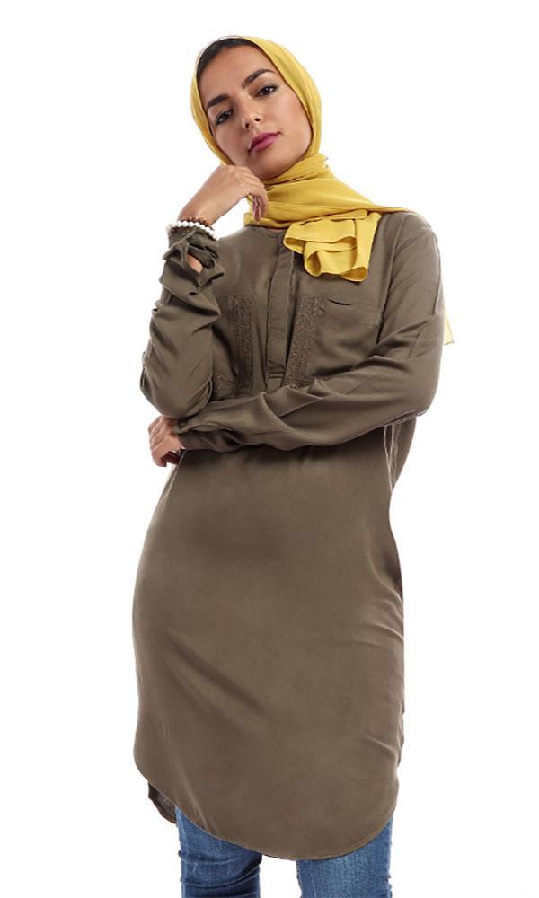 Plain Casual Tunic Shirt – Olive