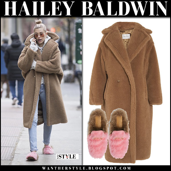 Hailey Baldwin in camel oversized teddy coat max mara aurelia with pink fur shoes gucci princetown model winter fashion january 16