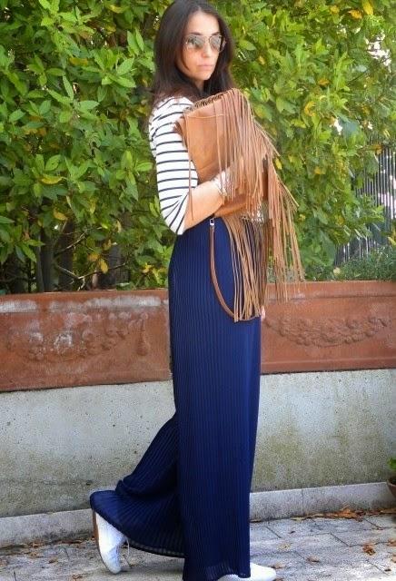 Wearing a Zara Shirt Blouses with Zara Palazzo Pants and Fringe Bag