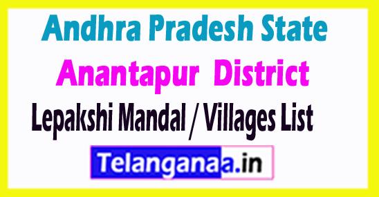 Lepakshi Mandal Villages Codes Anantapur District Andhra Pradesh State India