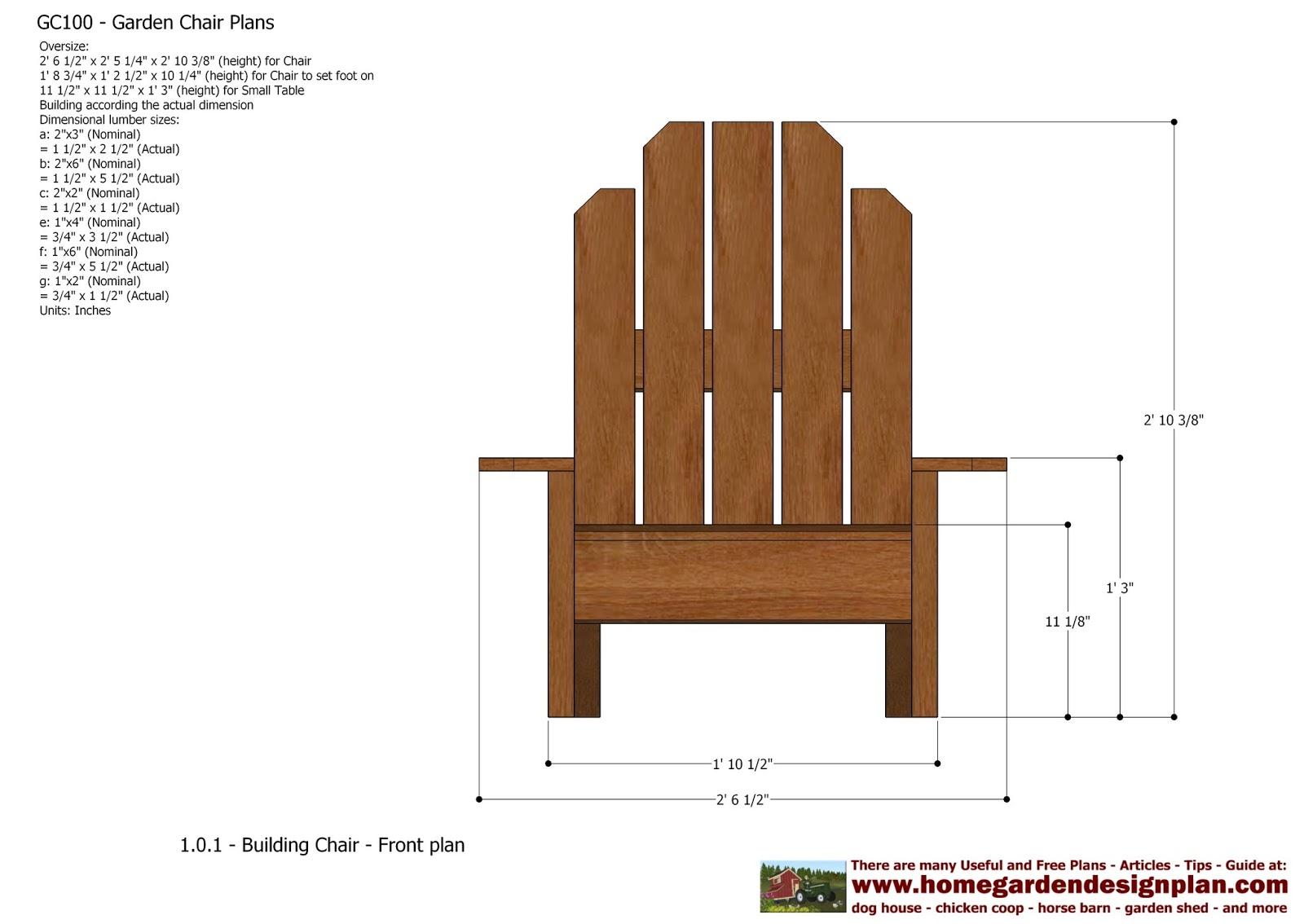 Garden Chair Design Plans Raise Height Home Gc101 Out Door