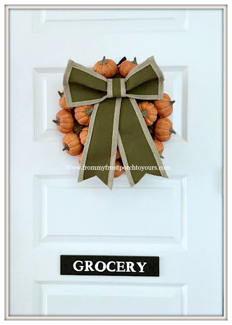 Fall Pumpkin Wreath-Kitchen-Farmhouse-Large Bow-From My Front Porch To Yours