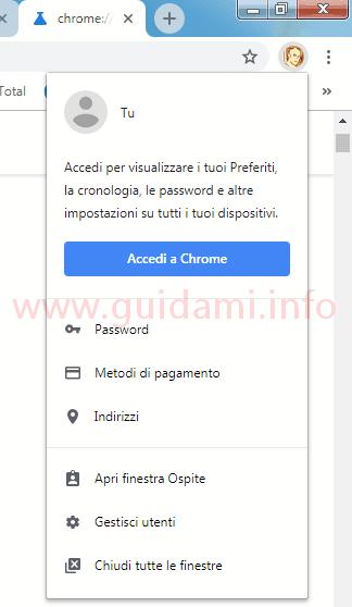 Chrome 69 icona profilo account utente menu opzione Accedi a Chrome
