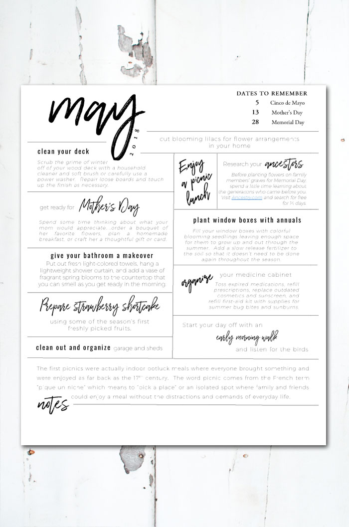 Free printable of all the things you should be doing this May. #freeprintable #May #printables #andersonandgrant