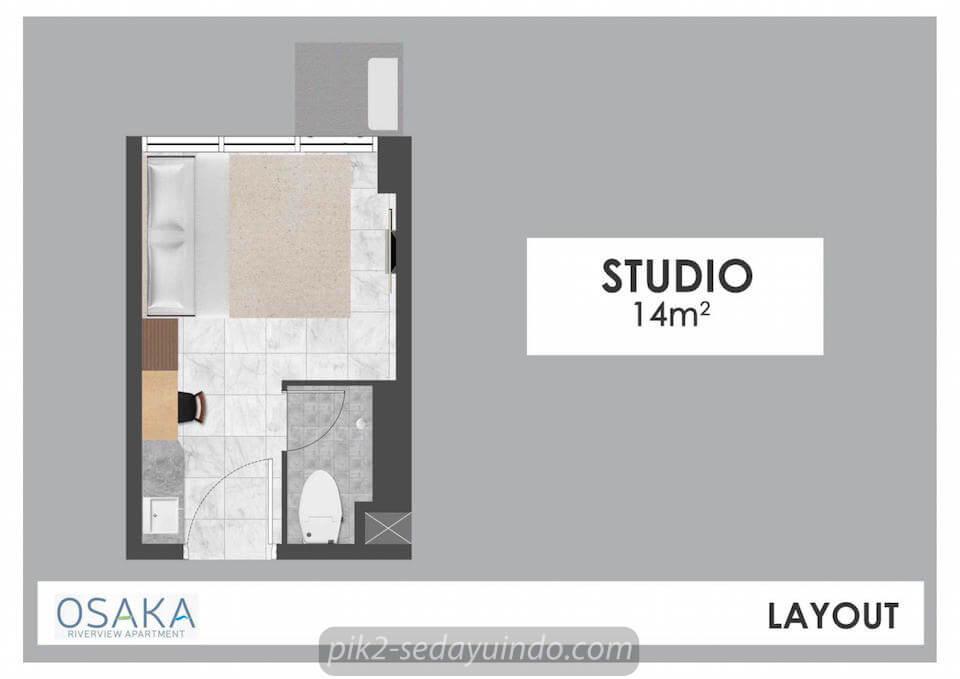 Tipe Studio Apartemen Osaka Riverview