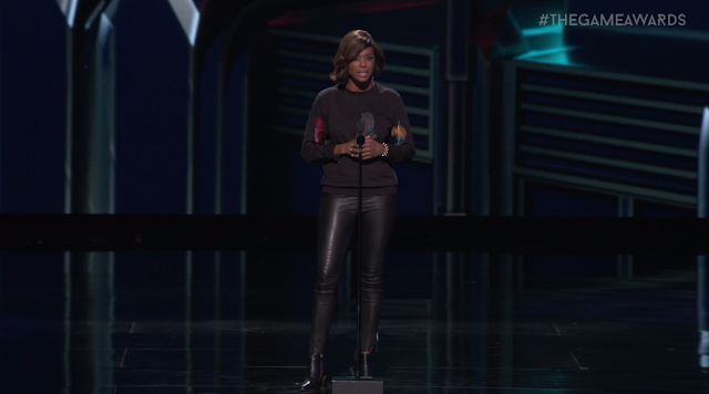 The Game Awards 2017 Aisha Tyler leather pants
