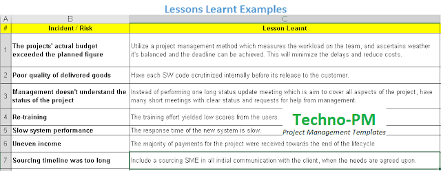 lessons learnt examples, lessons learned examples