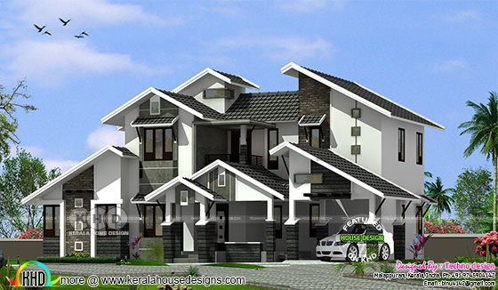 4 bedroom sloping and slanting roof house