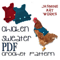 Chicken Sweater Crochet Pattern to download instantly from JasmineArtWorks on Etsy.