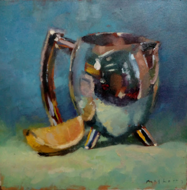 Daily painting oils silver jug and lemon segment reflections on green with a blue background.