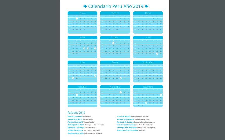 Calendario 2019 de Perú en PDF con días feriados