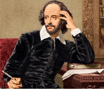 Ilustración de William Shakespeare sentado a color