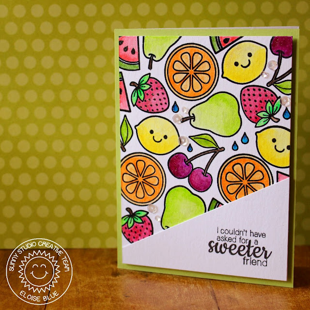 Sunny Studio: Fresh & Fruity Sweet Friend Fruit Card by Eloise Blue.