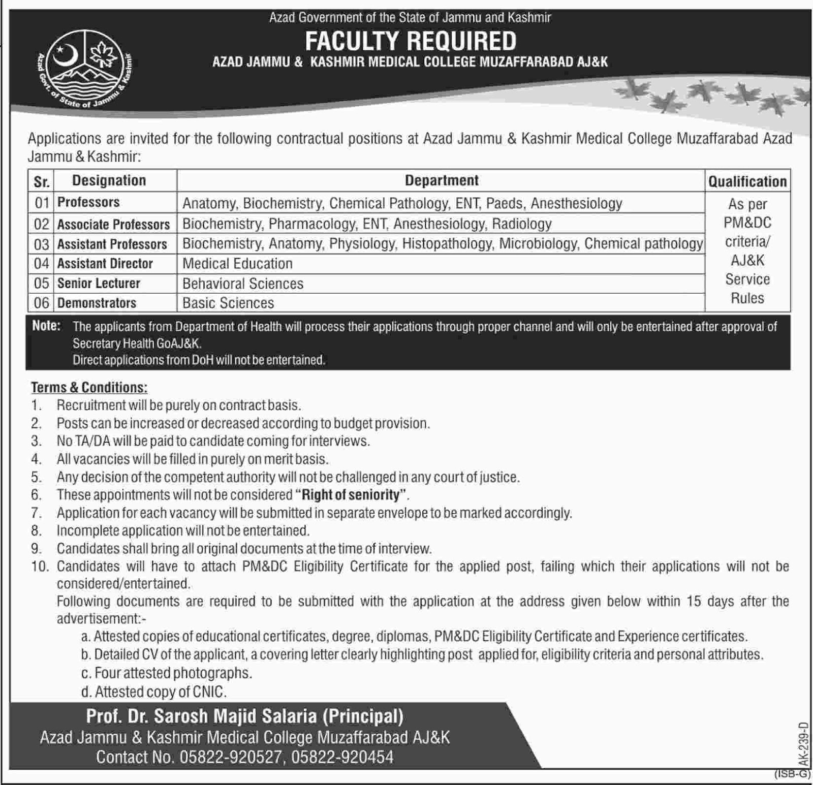 Azad Jammu And Kashmir Medical College Announced Jobs in Muzaffarabad