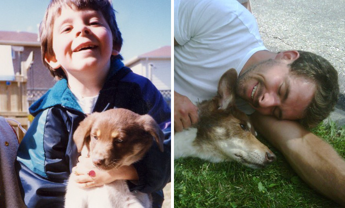 30 Heart-Warming Photos Of Dogs Growing Up Together With Their Owners - The Day We Said Hello And The Day We Said Goodbye