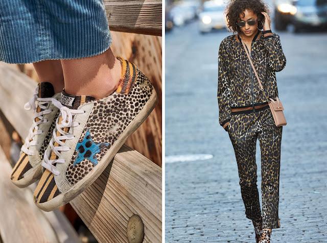 Кеды и спортивный костюм с леопардовым принтом