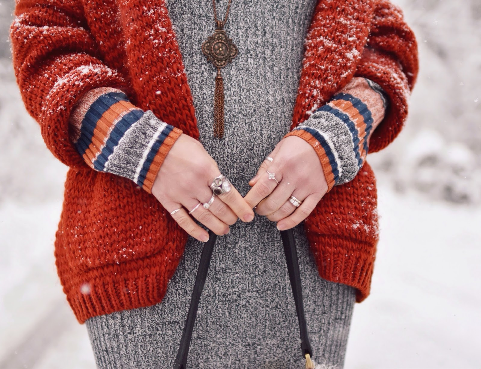 Monika Faulkner outfit inspiration - striped sweater dress, chunky red cardigan