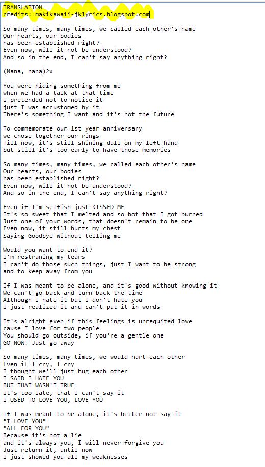 Random Jpop and Kpop Lyrics + Translations : Jasmine - Last