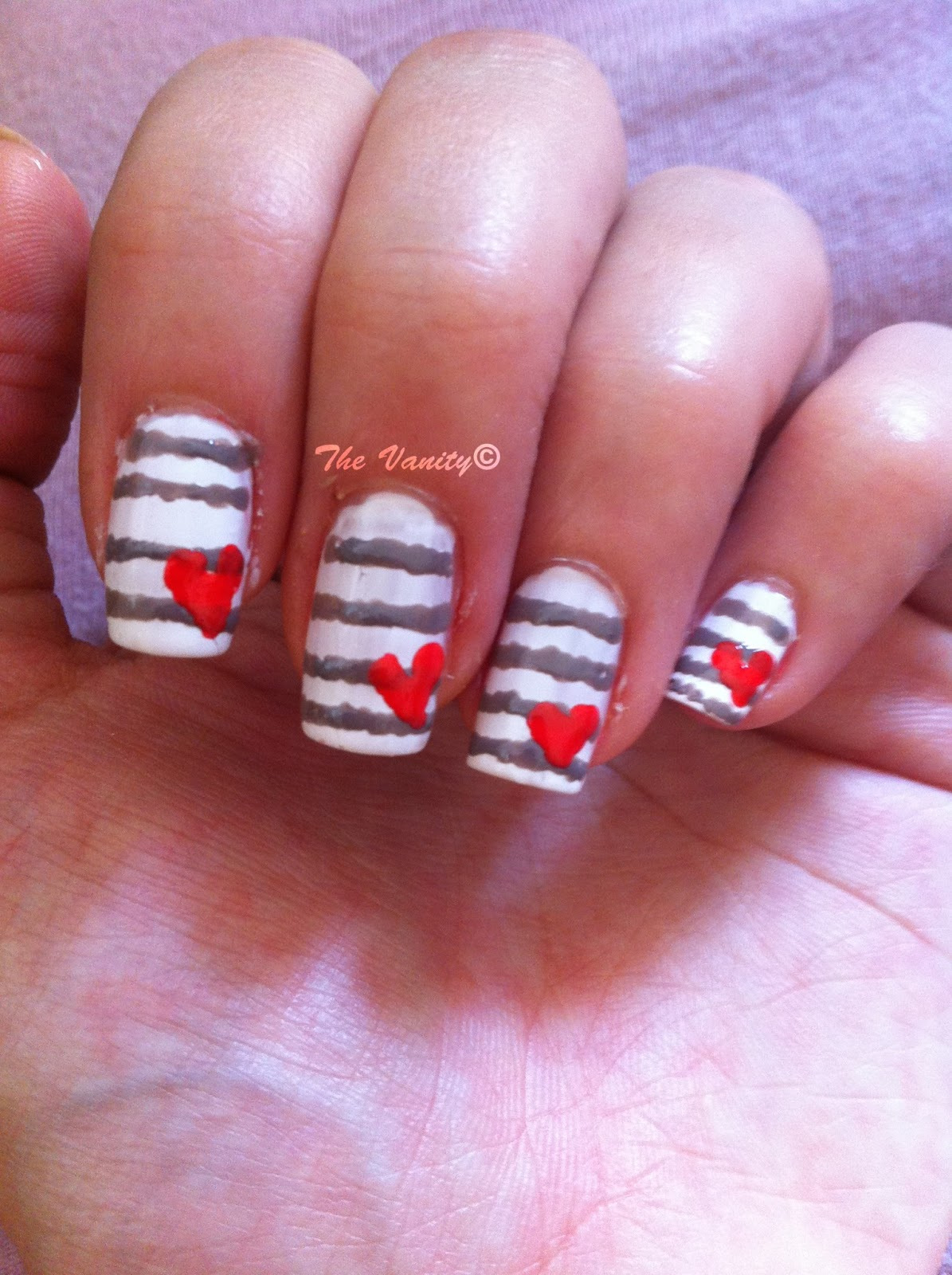 Stripes With Heart Nail Tutorial The Vanity
