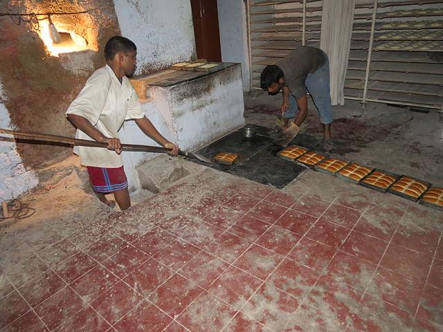 Bread making the local way at Aldona, Goa