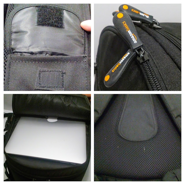 AmazonBasics Backpack for DSLR Cameras  - A four picture collage of the side pocket, zipper, back padding and second inner compartment.