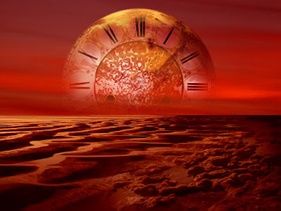 Ήλιος με μορφή ρολογιού, δύει στην έρημο. Ακολουθεί το κείμενο: ...Πιωμενοι ΦΩΣ ψαλμιζουμε το Πνευμα της Νυχτωδιας…  Ανοθευτο, απημαντο, συνπυκνωμα Ρευματων  Που υποφαινουν προφητικα αρχαια ανεμοχαρτια  Με στιγματα Αχρονιστικα σε Ανοξειδωτες Ωρες.  Ανειδωτες, Αιθερικες, Σελασγικες κολονες.  Που μας φαρωνουν την Ζωη, αινισσονται τα Θεια.  Λογχιζοντας και σπρωχνοντας, λυωνοντας, καποτε, σβειωντας.  Τα απληστα, ερεβικα, ανθρωποκτονα Σκοτη.  Των κολασμενων μας ψυχων, που, χο ι κα στριγγλιζουν...  Μες σε καμινι εφτακαυστο, φαεςφωρικο, δροσατο…