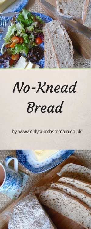 The no knead bread is no-fuss to make and requires only a few short minutes of hands on time.  The long prove results in a flavoursome well aerated loaf which is lovely served alongside a salad, as a traditional sandwich or simply toasted
