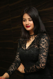 Actress Monica in spicy transparent Black Top at O Pilla Nee Valla Movie Audio Launch Feb 2017 056.JPG