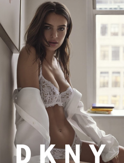 Emily Ratajkowski strips for the DKNY Intimates Spring Summer LatestCampaign