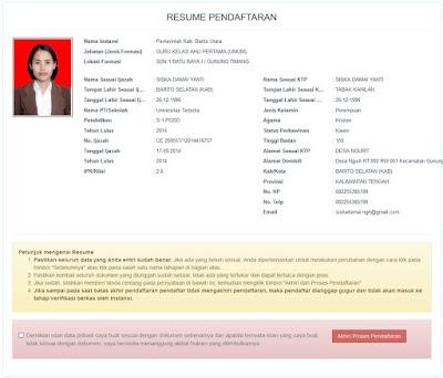 resume pendaftaran SSCN 2018