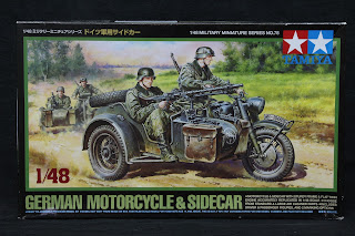 Review du German motorcycle & side-car de Tamiya au 1/48.