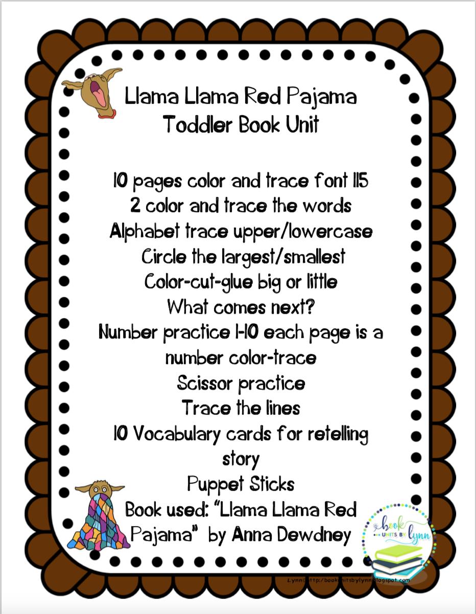 7c6a96b0fc LLAMA LLAMA RED PAJAMA TODDLER BOOK UNIT ~ Book Units by Lynn